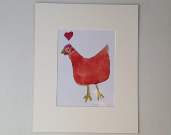 New Hampshire Red Chicken Love Matted Print