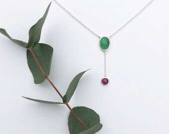Rose Cut Chrysoprase & Ruby Necklace