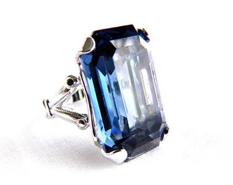 Vintage Silver Plated London Blue Solitaire Ring - Huge Emerald Cut Faceted Glass - 20 Carats - Size 5.5 - ESTATE