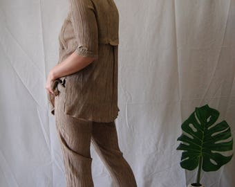 Stretchy Tan Pants Suit
