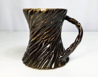 Textured Mug, Carved Mug, Unique Mug, Handmade Mug, Wheel Thrown Mug, Pottery Mug