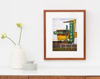 Route 66 Western Motel Sign | Neon Sign Art | Mid Century Modern Art | Western Decor | Cactus Decor | Oklahoma Art | Retro Roadside