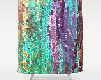 Beautiful Shower Curtain -  Teal and purple Mosaic,  unique fabric , teal, purple, colorful, bathroom decor, art for the bathroom