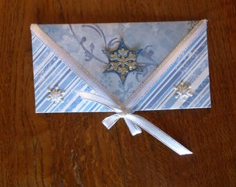 Example envelope blue and white card or check