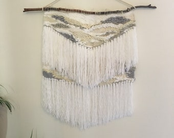 Woven wall hanging/ weaving/ modern tapestry/Scandi weave -extra large neutral