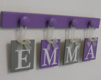 Name Sign - Baby Girl Name - Purple Gray Name Wood Hooks Lilac, Childs Name, Custom Name, Personalized Names, Wooden Baby Name Sign