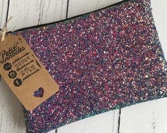 Irredescent evening bag, Unicorn glitter clutch, pink bag, pink evening bag