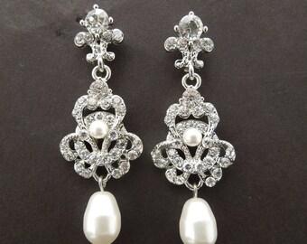 Pearl Bridal Earrings, bridal Rhinestone earrings, Teardrop Pearl Earrings, Pearl and Rhinestone Wedding Earrings, wedding Earrings, MARA