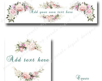 Roses 27, Cover banner and Shop Icon, Instant download, blank files, floral pale pink roses, garden, shabby chic, flowers,