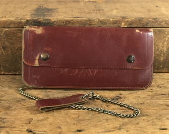 Vintage Mens Leather Chain Wallet, Wallet with Chain, Biker Wallet, Worn Wallet, Leather Wallet, Men's Wallet, Brown Wallet, Wallet Chain