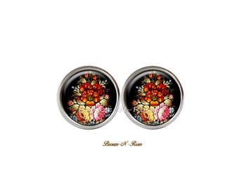 Stud Earrings * flowers * fantasy Bohemian red cabochon jewel
