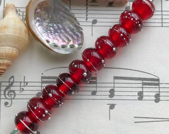 True Red Transparent Pure Silver Trailed Beads 10mm x 7mm
