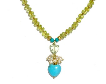 18k Gold Tourmaline & Sleeping Beauty Heart Knotted Necklace