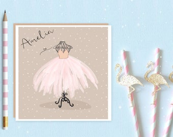 Ballerina Blank Greeting Card - personalised ballet card - ballet card - ballet - tutu - ballerina - ideal for ballet lovers and ballerina's