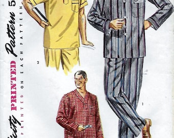 Simplicity 4108 Men's 50s Two Piece Pajamas and Nightshirt Sewing Pattern.  Size Large Chest 42-44