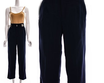 Vintage modernist blue pants Navy High Waist Pants High Waisted Metal Minimalist Sexy Pants XS S