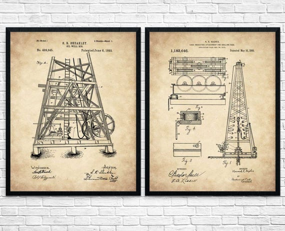 Oil rig set of 2 industrial art texas art oil derrick oil oil rig set of 2 industrial art texas art oil derrick oil worker oil industry blueprint art oil derrick poster oil rig poster malvernweather Image collections