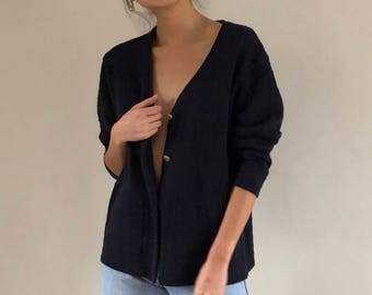 button front sweater / merino sweater / vintage cardigan / navy blue | s m