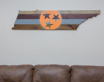 State of Tennessee wall art TriStar Wood flag Wood sign 5ft