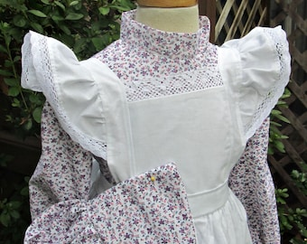 Girls Pioneer Dress,Bonnet and Pinafore /Long or Short sleeves..(PLEASE details inside ad)