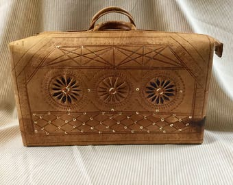 Vintage Tooled Leather Suitcase Handbag Overnight Bag