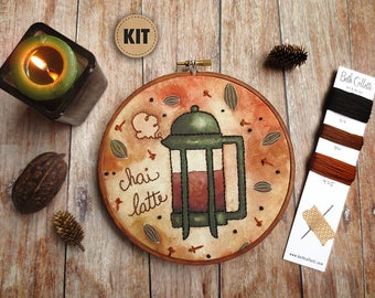 Embroidery Kit, DIY Craft Kit, Chai Tea, Brown Teapot Art, Modern Hand Embroidery Patterns, Embroidery Hoop Art, DIY Gift, Stitch Kit