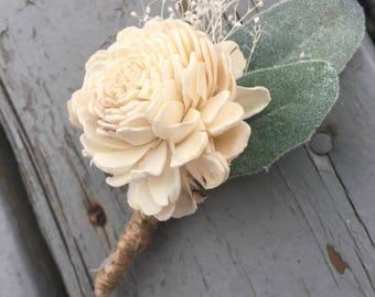 Sola Wood Boutonniere, sola flower boutonniere, Sola Corsage
