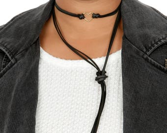 Valentine Minimalist HEART Leather Choker | Gold Heart Connector  | Leather Bracelet/Armband Wrap | Necklace Lariat Choker Gift for Her