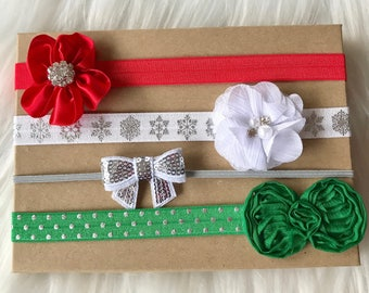 Christmas Headband Set, Christmas Baby Headband, Baby Headband, Baby Girl Headband, Infant Headband, Newborn Headband, Girl Headband, Baby