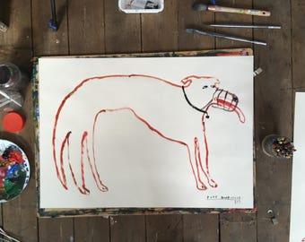 Original Faye Moorhouse painting - Fierce Dog Series - A1 size - FREE worldwide shipping
