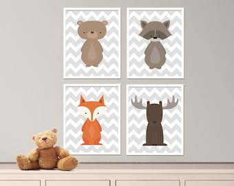 "Woodland Nursery Prints Fox, Bear, Raccoon and Moose Nursery Art Print Set, Baby Nursery Art Set of 4 -8x10"" Instant Download - S115"