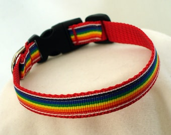 Small Dog Collar - Rainbow Dog Collar - 1/2 Inch Wide - Fits 7-10 Inches - Narrow Dog Collar - Toy - Tiny - Teacup - Puppy - READY TO SHIP