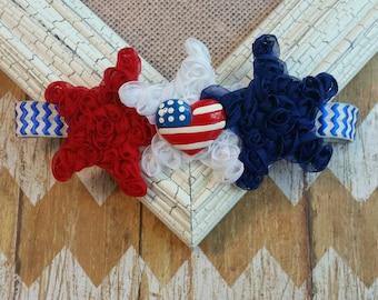 Patriotic headband, USA baby headband, Red White Blue baby headband, American headband, 4th of July headband, USA headband, baby headband