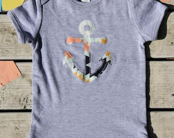 Anchor Baby Onesie®, Handmade Nautical Baby Bodysuit - More Fabric Available