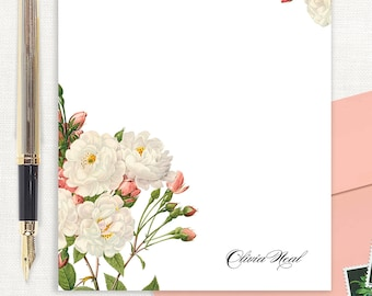 personalized notePAD - WHITE and CORAL wild ROSES - floral stationery - flower stationary - letter writing paper - custom notepad
