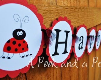 Lady Bug Custom Happy Birthday Banner in Red and Black Personalized for Showers and Birthday Parties