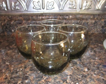 Vintage Roly Poly Avocado / Green Glasses by Libbey - Set of Four