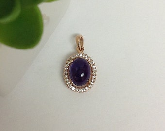Natural Amethyst Cabochon and White Sapphire Halo Pendant