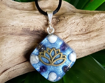 INNER PEACE Orgone Pendant – Howlite, Hematite and Amethyst - Decrease stress and anxiety, increase peace, mindfulness and calm - Small