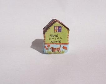 Beagle Hand-painted Clay house,Home Sweet Home,Home,Shelf decor,Collectible,Miniature house,Housewarming gift,Ceramic houses,Tiny house