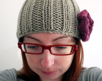 SALE Knitted chunky cream / beige / stone winter hat with flower detail
