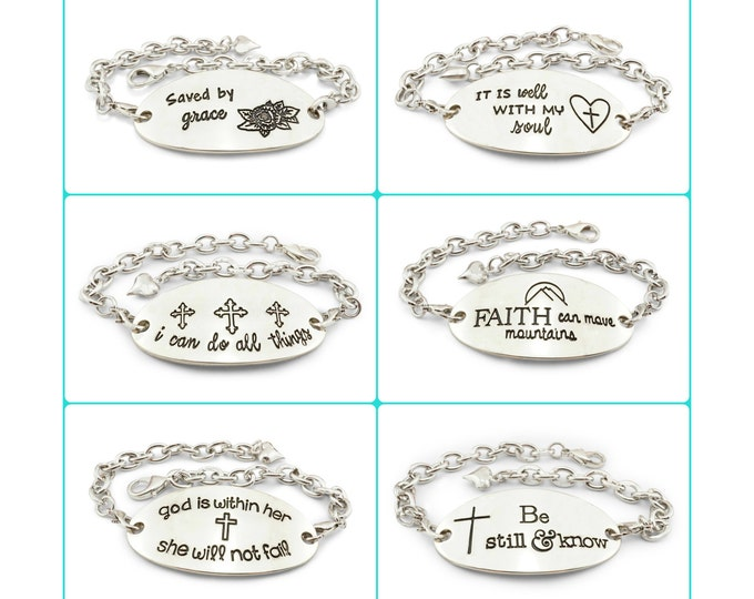 Inspirational bracelets - be still & know, it is will with my soul, god is within her she will not fail, i can do all things - faith jewelry