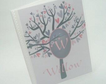 Wedding Photo Album Personalized Photo Album Monogram Bridal Shower Gift anniversary engagement Gray tree bird 4x6 or 5x7 picture 029
