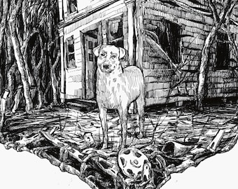 Print of a Dog and Abandoned House
