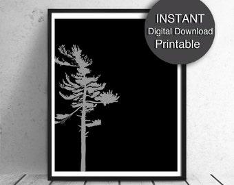 Printable Art, Scandinavian Print, Modern, Tree, Black and Gray, A3, A4 8x10 16x20