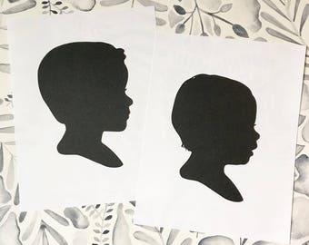 Hand Cut Silhouette Portrait (Wonderful Gift) Includes Digital Silhouette
