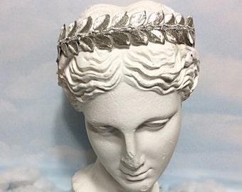 Silver Leaf Crown, grecian crown headband, Silver headband women, Silver embroidery crown, Silver leaf headpiece, Silver leaf bride headband