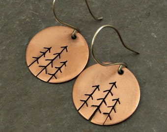 Copper Disc Earrings, Tree Earrings, Eco Friendly Jewelry Gifts for Her