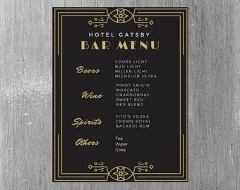 Great Gatsby Themed Bar Menu for wedding/parties