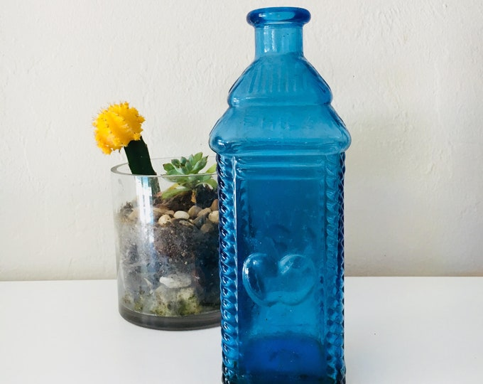 Beach Decor Vintage Glass  Blue Vase Bottle  by SEASTYLE
